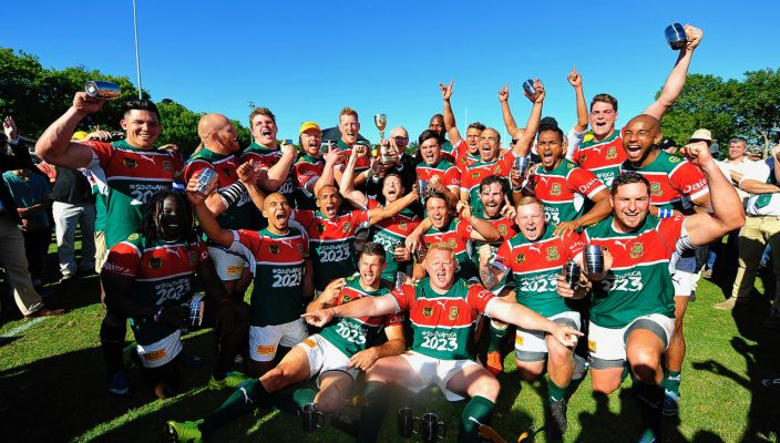 CAPE TOWN, SOUTH AFRICA - OCTOBER 28: General view of False Bay players celebrating with the Gold Cup Trophy after winning the Gold Cup, Final match between Direct Axis False Bay and Go Nutz College Rovers at Philip Herbstein Field, Constantia on October 28, 2017 in Cape Town, South Africa. (Photo by Ashley Vlotman/Gallo Images)