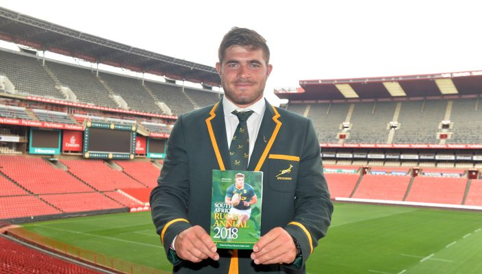 JOHANNESBURG, SOUTH AFRICA - FEBRUARY 09: SA Rugby Player of the Year Malcolm Marx during the Announcement of SA Rugby Player of the Year 2017 Winners at Emirates Airline Park on February 09, 2018 in Johannesburg, South Africa. (Photo by Lefty Shivambu/Gallo Images)