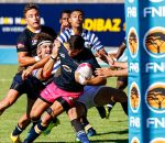 Riaan Esterhuizen (C) of Madibaz drives the ball close to the UCT tryline during the Varsity Cup rugby match between the Madibaz and UCT at the Madibaz Stadium , Monday 5 February 2018