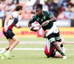 HAMILTON, NEW ZEALAND - FEBRUARY 03: Tim Agaba of South Africa on the charge against Russia during the 2018 New Zealand Sevens at FMG Stadium on February 3, 2018 in Hamilton, New Zealand.  (Photo by Anthony Au-Yeung/Getty Images)