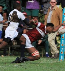 Kearsney's Sbu Sangweni pushes for the try line in the win against Northwood