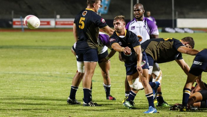 Dundre Maritz of Madibaz during the Varsity Cup rugby match between the Madibaz and Pukke at the Madibaz Stadium , Monday 25 February 2018
