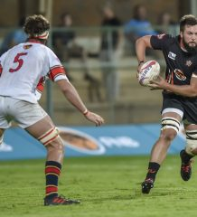 Pretoria, SOUTH AFRICA - MARCH 19:   Ruan Nortje of FNB Tuks  and Wian Conradie of FNB UJ  during the Varsity Cup Rugby match between FNB Tuks and FNB UJ  on March 19, 2018 at LC de Villiers Sport centre Tuks in Pretoria, South Africa. (Photo by Christiaan Kotze/SASPA)