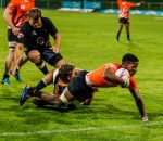 Cyprian Nkomo scores a try for UJ during the FNB Varsity Cup rugby match between UJ and NMU Madibaz at UJ Rugby Stadium in Johannesburg on the 5th March 2018. Photo by Dominic Barnardt/VarsitySports