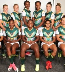 STELLENBOSCH, SOUTH AFRICA - MARCH 29: Team South Africa Commonwealth Games Womens Sevens team photo during the Team South Africa Commonwealth Games Sevens Photocall Session at Stellenbosch Academy of Sport on March 29, 2018 in Stellenbosch, South Africa. (Photo by Shaun Roy/Gallo Images)
