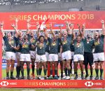 PARIS, FRANCE - JUNE 10:  Series Champions 2018 men team South Africa pose with the trohpy at the HSBC Paris Sevens, stage of the Rugby Sevens World Series at Stade Jean Bouin on June 10, 2018 in Paris, France.  (Photo by Aurelien Meunier/Getty Images for HSBC)