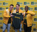 Quinton Janse van Rensburg, Mark Nancarrow  The MTN Bozza Winner and Ndabenhle Zondo during the Announcement of the Official Bozza of the Springboks Pic Sydney Mahlangu/BackpagePix