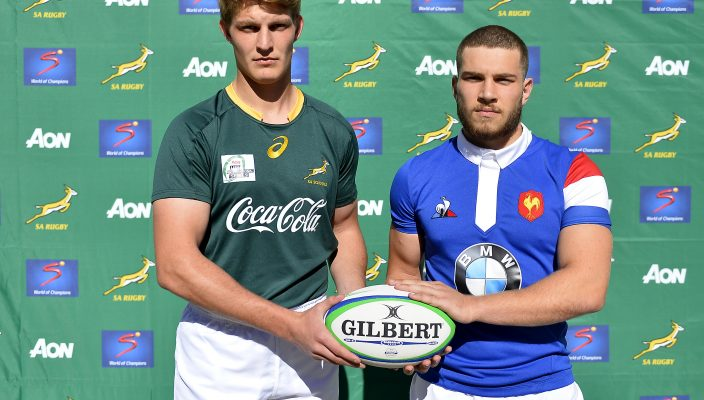 STELLENBOSCH, SOUTH AFRICA - AUGUST 09: Adrian Alberts of South Africa and Pierre Jugte of France during the Captain's Photo and Media Opportunity at Markotter Field, Paul Roos Gymnasium on August 09, 2018 in Stellenbosch, South Africa. (Photo by Ashley Vlotman/Gallo Images)