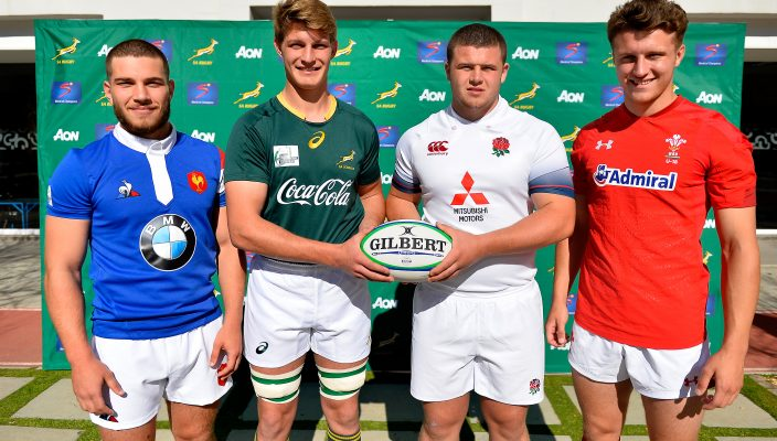 STELLENBOSCH, SOUTH AFRICA - AUGUST 09: Pierre Jugte of France, Adrian Alberts of South Africa and Alfie Barbeary of England and Rob Brookson of Wales during the Captain's Photo and Media Opportunity at Markotter Field, Paul Roos Gymnasium on August 09, 2018 in Stellenbosch, South Africa. (Photo by Ashley Vlotman/Gallo Images)