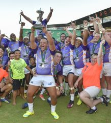MPUMALANGA, SOUTH AFRICA - OCTOBER 19: The Griffons team celebrating as the receive the trophy after winning the match 48- 6 during the SA Rugby U/20 Championship final match between  Griffons and Pumas at Middelburg High School on October 19, 2018 in Mpumalanga, South Africa. (Photo by Christiaan Kotze/Gallo Images)