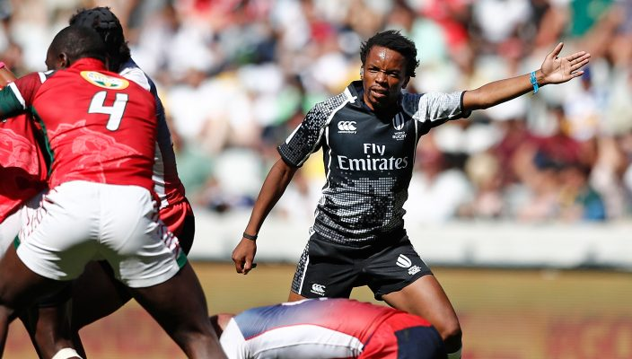 Referee Rasta Rasivhenge in the game between Russia and Kenya on day one of the HSBC World Rugby Sevens Series in Cape Town on 9 December, 2017. Photo credit: Mike Lee - KLC fotos for World Rugby